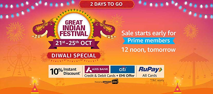 Amazon Great Indian Festival Offers – Diwali Special Loot 21st-25th Oct