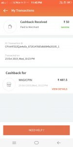 Freecharge Cashback proof