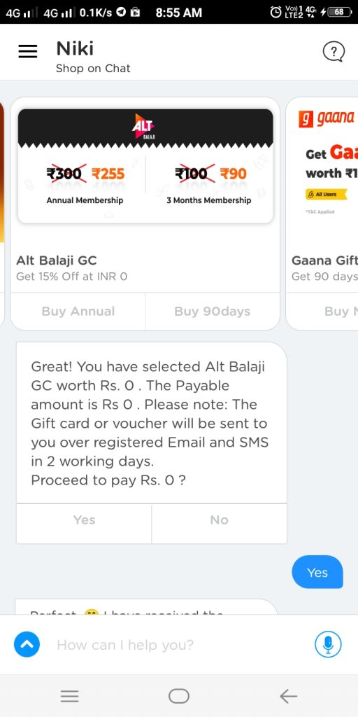 Alt Balaji Gift Card On Nikki