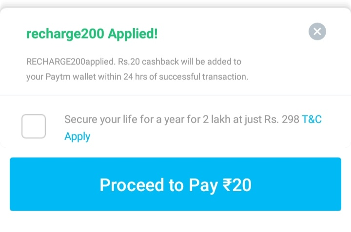 Get Rs.20 Cashback Paytm Promo Code For Recharge