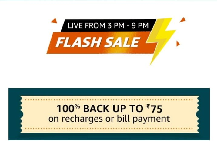 Amazon Flash Sale 100% Cashback On Recharge & Bill Pay