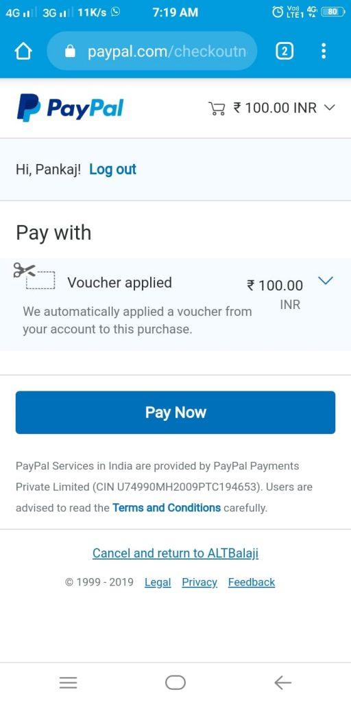 PayPal Cashback Voucher