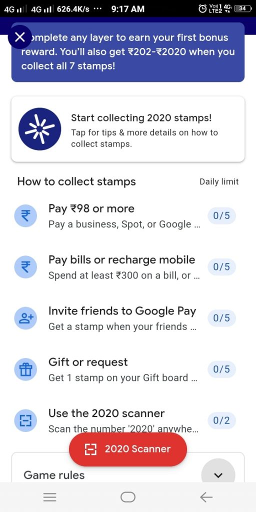 Google Pay Welcome 2020 Offer Tasks