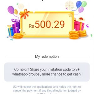 """UC Turbo Referral Code """"6RMMZX"""" -Get Cash Everyday"""