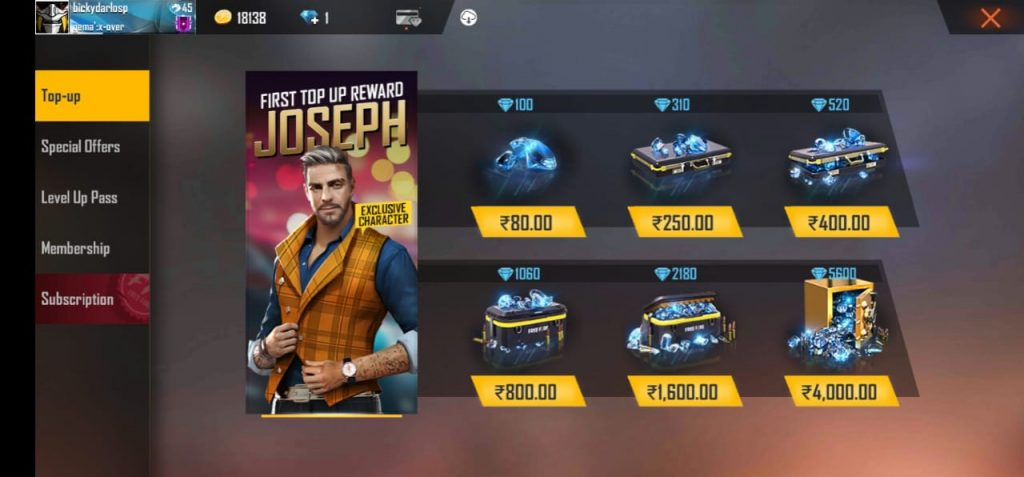 Free Fire Diamonds For Free