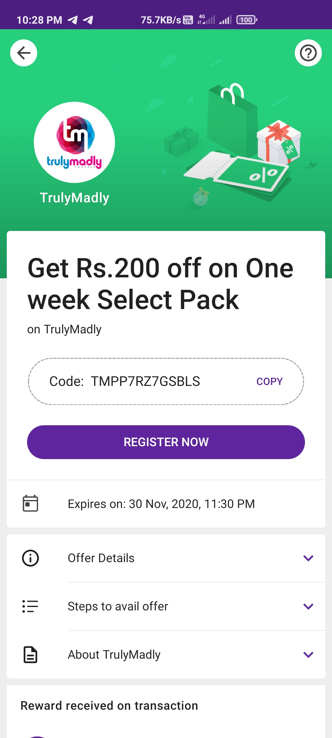 Trulymadly Free Select Pack Voucher By Phonepe Offer