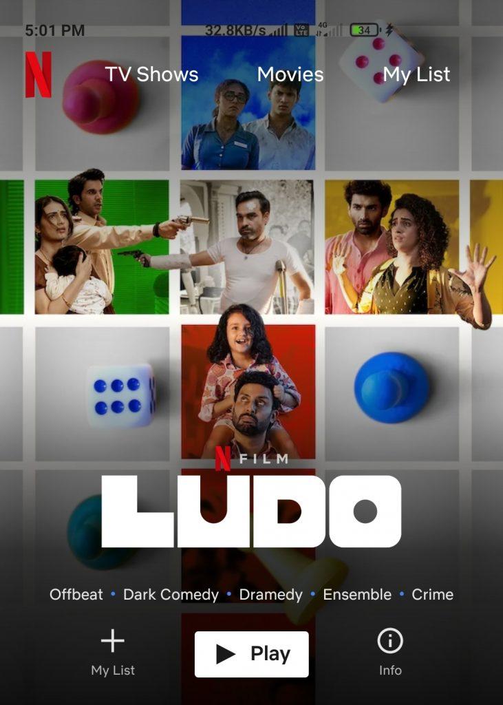 Ludo Movie On Netflix