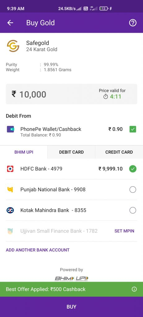 PhonePe Gold Offer On Dhanteras