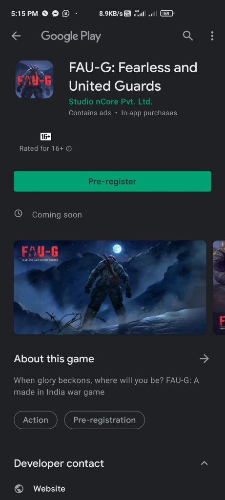 How to pre register FAU-G Game on Play Store