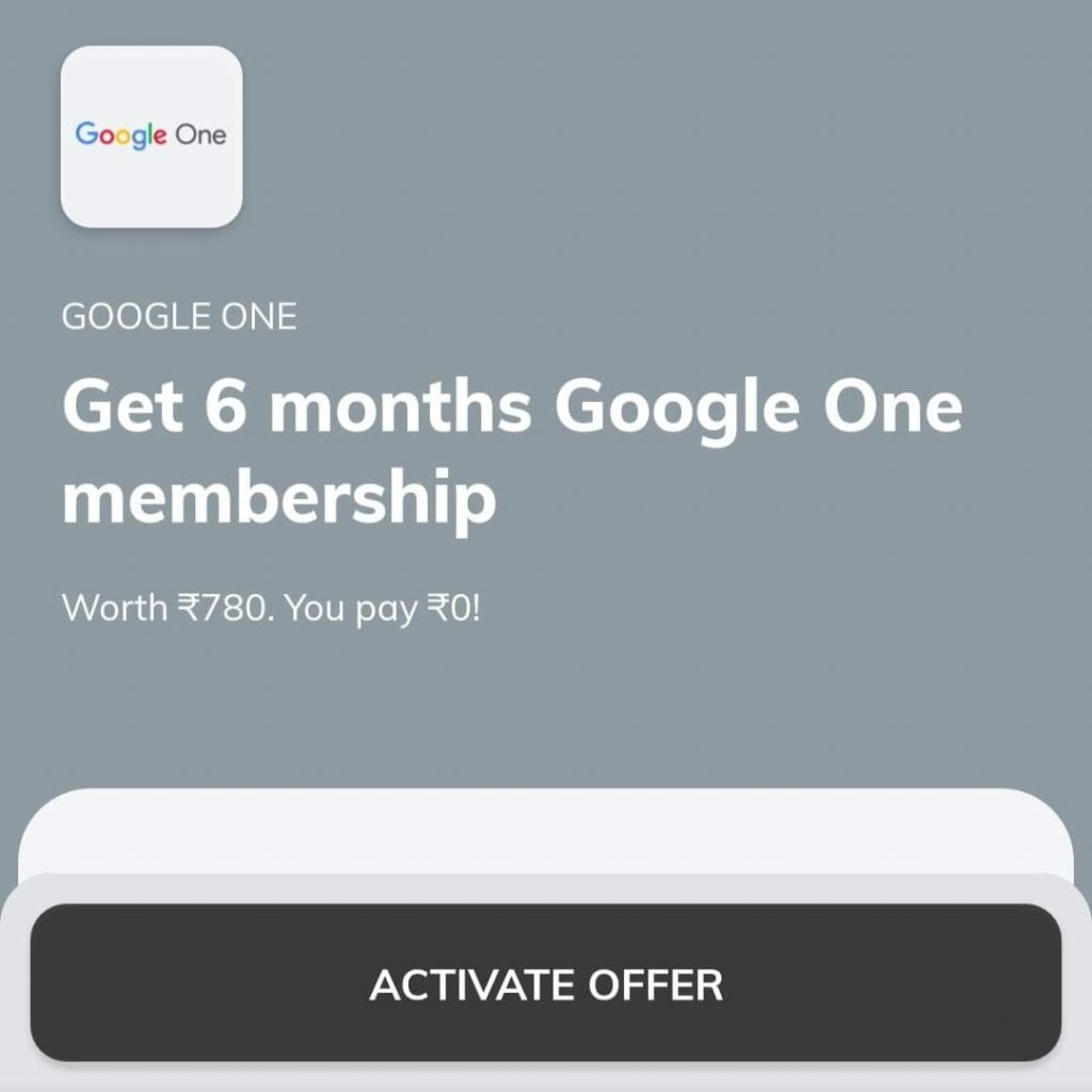 ₹300 Google Play Free Redeem Code From Google One