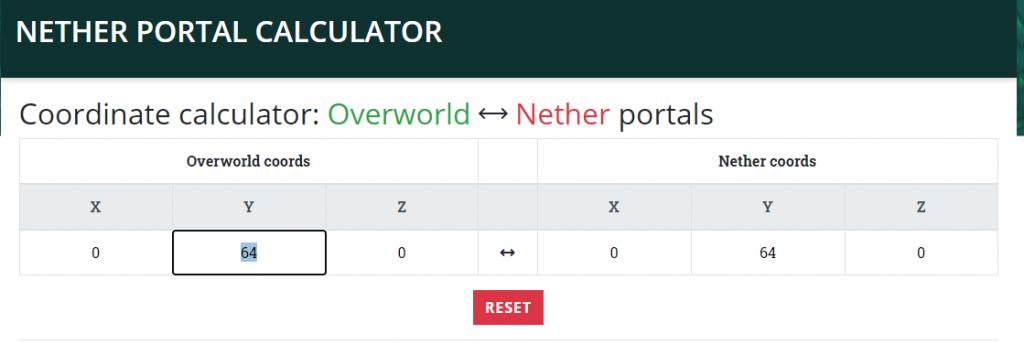 Minecraft Nether Portal Calculator