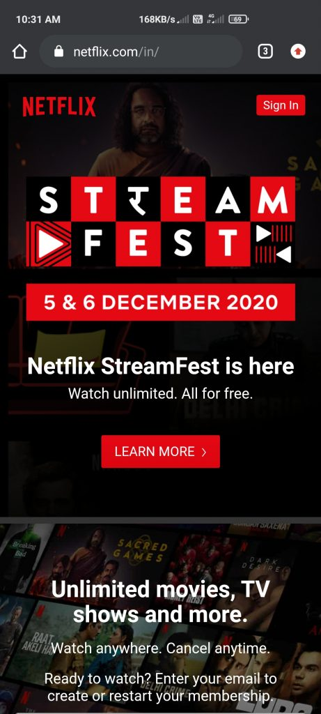 Netflix Streamfest Offer enjoy 2days Free streaming