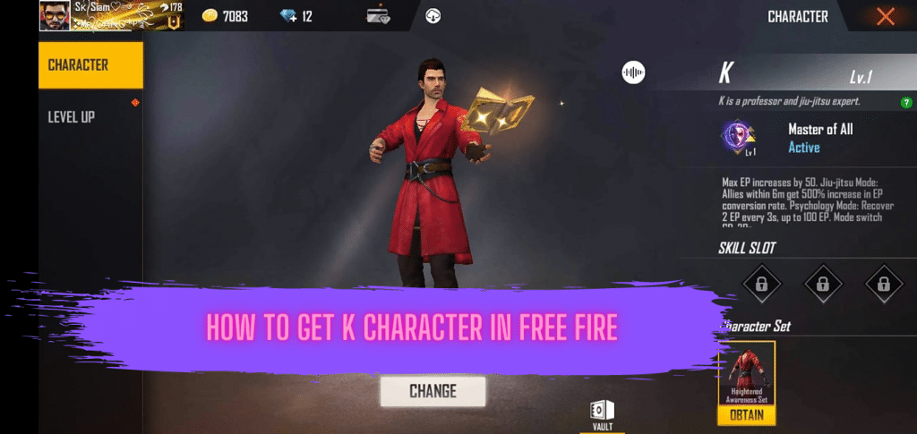 How To Get K Character In Free Fire