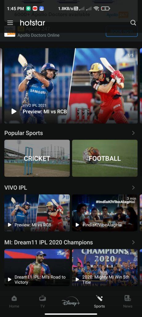 Watch Free IPL On HotStar