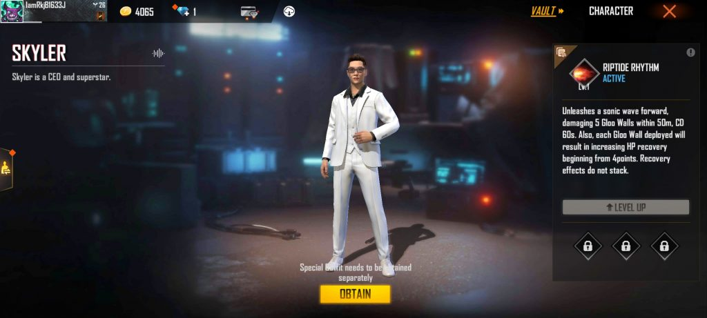 How get free Skyler Character In Free Fire