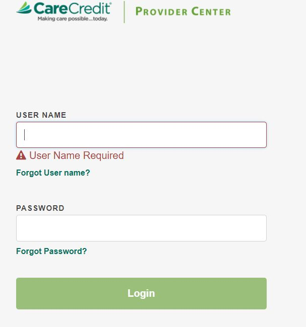 Care Credit Card Provider Login Page