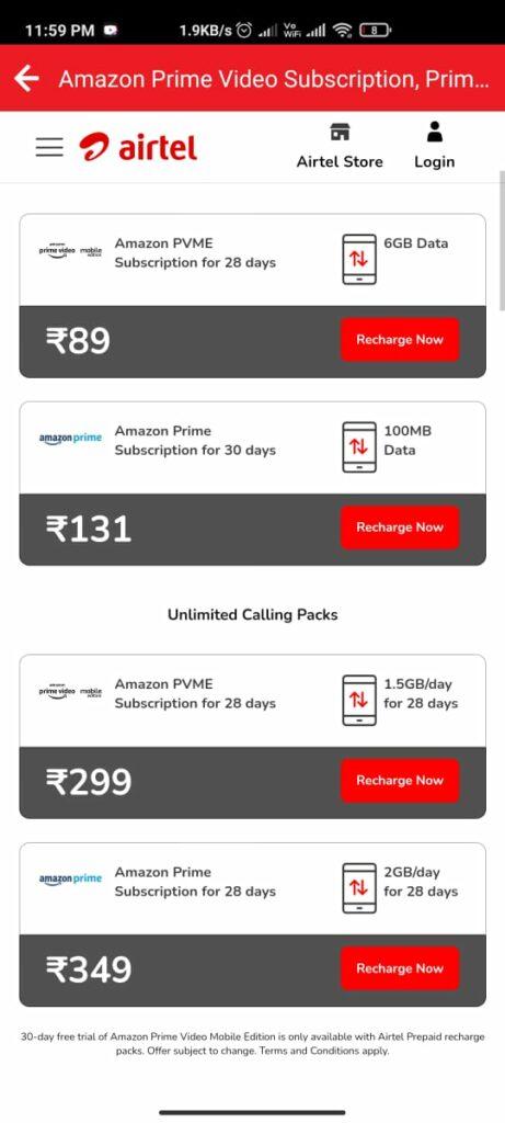 Free Amazon Prime On Airtel Recharge