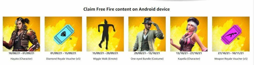 Free Fire Amazon Prime Rewards List 2021