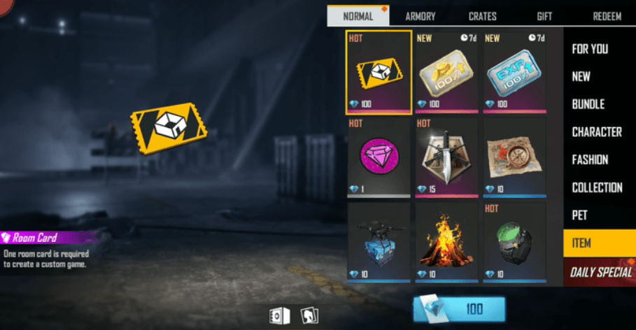 Free Room Card in Free Fire